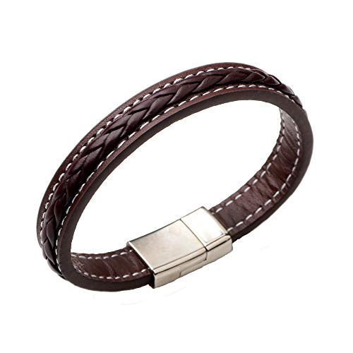 TURTLEDOVE Mens Leather Bracelet Braided - Punk Bracelet for Men with Magnetic Clasp, Gift Ideas for Brother, Dad and Boyfriend (Brown Leather)