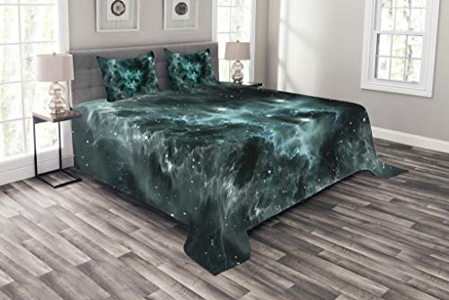 Lunarable Outer Space Bedspread Set Queen Size, Space Nebula in The Space with Crystal Star Cluster Galaxy Solar System Cosmos Print, Decorative Quilted 3 Piece Coverlet Set with 2 Pillow Shams, Teal by Lunarable