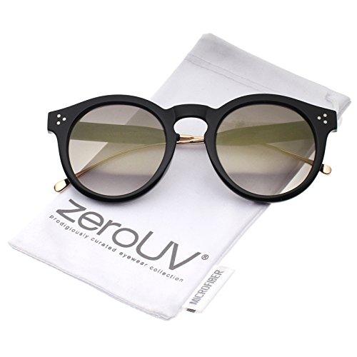 zeroUV - Metal Temple Keyhole Bridge Colored Mirror Lens P3 Round Sunglasses 50mm (Shiny Black-Gold / Gold - Keyhole Sunglasses Bridge