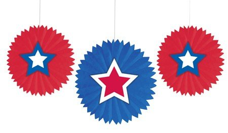 Creative Converting 3 Count Tissue Fans with Star Attachments (Star Attachment)