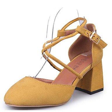 DESY Damen High Heels Komfort Pumps Echtes Leder PU Sommer Normal Schwarz Gelb Khaki 5 - 7 cm yellow