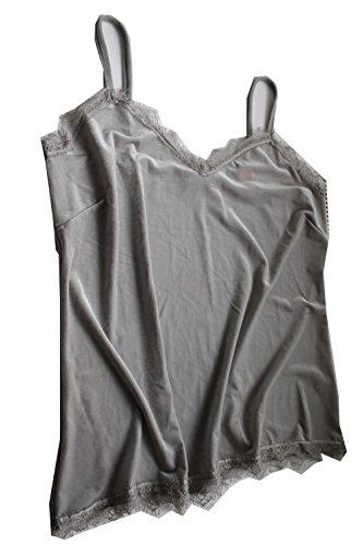 Infinity Woman Damen Top Farbe: Grau/Silber Gr. XXL 52/54 Spagettiträgertop in Samt mit Spitze. Top