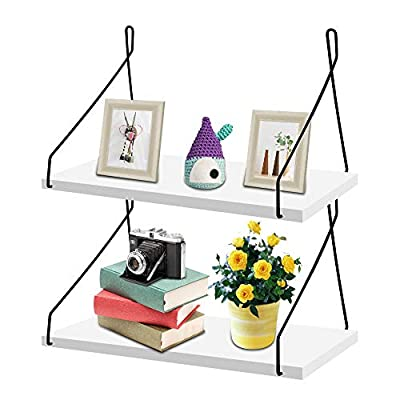"""MONOLED Floating Shelves, Wall Mounted Floating Shelves, Set of 2, Rustic Metal Wire Floating Wood Shelf Storage Rack for Living Room Bedroom Bathroom Kitchen School Office (White) - ♥ ECO-FRIENDLY MATERIAL: These floating shelves are made of high quality lightweight MDF wood. The surface of the board constructs of spray-painted and metal brackets for kitchen, school and office. Wall mounted floating shelves are strong and durable without formaldehyde, no harmful for your health! ♥ SAVING SPACE & CLUTTER FREE: The dimension of floating wood shelf is 11.9""""L × 5.9""""W × 6.7""""H and thickness of the board is 0.6"""". Provides more space for potted plants, framed photos, treasures and other trinkets, no more clutter! Give the illusion a bigger space in your kitchen, school and office. It is a perfect idea to hang it up in the living room as a display shelves. ♥ EASY TO ASSEMBLE: It comes with four metal brackets, two wood boards and four screws. Easily assemble with all necessary mounting hardware included. Just fix with the screws, wall mounted floating shelves could be easy and effortless to install in few minutes. Hang in your living room, bedroom, bathroom, kitchen, school and office is a perfect match. - wall-shelves, living-room-furniture, living-room - 41fsyWN6ZSL. SS400  -"""