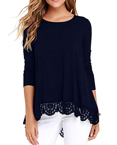 ZEGOLO Women's Casual Lace Tunic Tops Long Sleeve and Short Sleeve O-Neck A Line T-Shirt Blouses