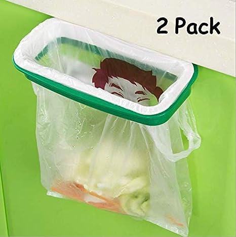 estante de bolsas de basura colgantes de acero inoxidable Soporte para bolsas de basura para puertas de gabinetes de cocina