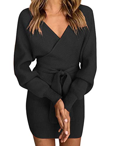 xy Deep V-Neck Long Batwing Sleeve Backless Mini Slim Fit Bodycon Penci Knit Sweater Dress with Belt(BL,XL) ()