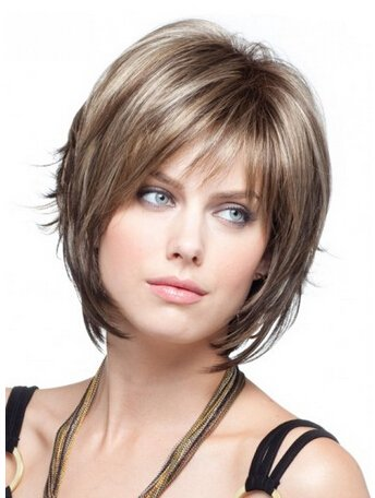 Short Blonde Wig With Bangs (YX Women's Short Blonde Layered Wigs With Side Bangs Natural Human Hair Wigs With Wig Cap)