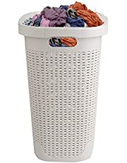 Mind Reader 40HAMP-IVO 40 Liter Slim Basket, Laundry Hamper with Cutout Handles, Washing Bin, Dirty Clothes Storage, Bathroom, Bedroom, Closet, Ivory, White