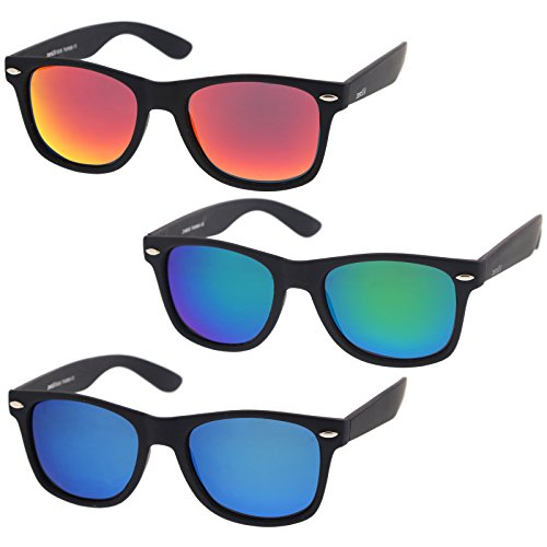 zeroUV - Rubberized Frame Reflective Mirror Polarized Lens Square Horn Rimmed Sunglasses 55mm (3 Pack Polarized | Blue + Green + - Horn Mens Sunglasses Rimmed