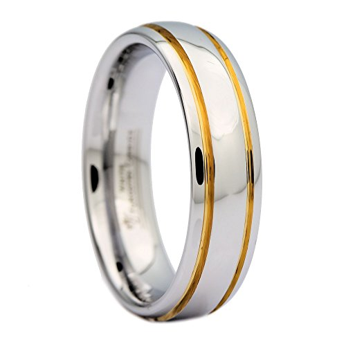 MJ Metals Jewelry White Tungsten Carbide Polished 2 Gold Stripes Wedding Band 6mm Ring Size 9.5 (White Stripes Band)