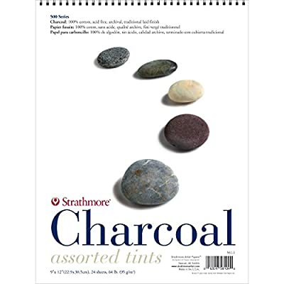 "Strathmore Charcoal Spiral Paper Pad 18""X24""-Assorted Tints 24 Sheets"