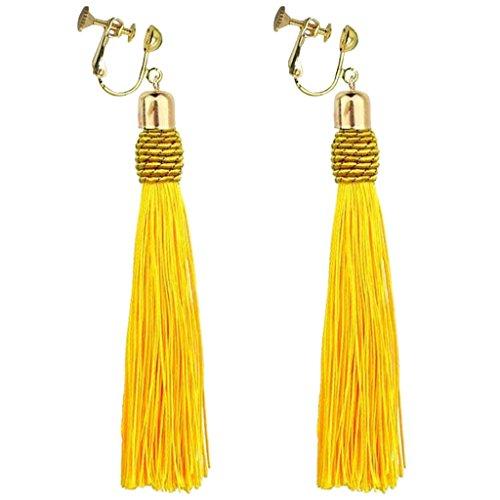 Bohemian Yellow Long Tassel Silk Fringe Thread Clip on Earrings Oval Knot Prom Bar for Girls Women