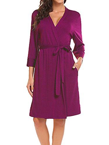 44e9e885586fa Bluetime Women Robe Soft Kimono Robes Cotton Bathrobe Sleepwear Loungewear  Short
