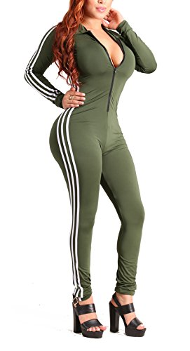 Sexy Military Outfit (Bluewolfsea Women's Sexy Zipper Front Long Sleeve Bodycon Club Party Long Jumpsuit Rompers Small Army Green)