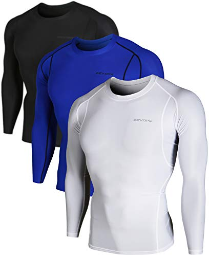 - DEVOPS Men's 3 Pack Cool Dry Athletic Compression Long Sleeve Baselayer Workout T-Shirts (Medium, Black-Blue-White)