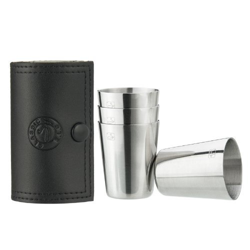 Savage Shot Glasses with Black Leather Case 1.2oz Each Set of 4 18/8 Stainless Steel ()