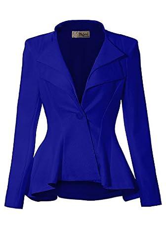 Women Double Notch Lapel Office Blazer JK43864 1073T ROYAL 2X (Office Coat)