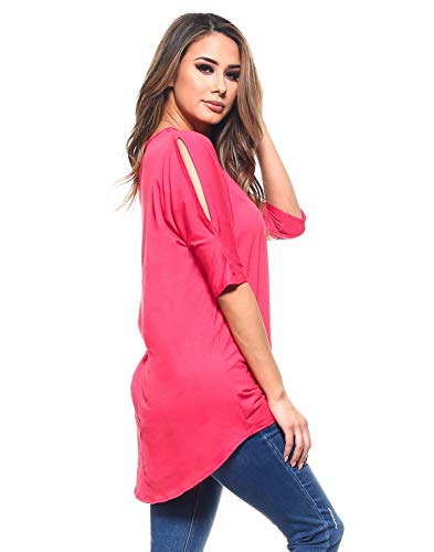 Isaac Liev Women's Cutout Cold Shoulder V-Neck Tunic (2X-Large, Coral),XX-Large - Out Coral Cut