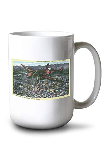 Lantern Press California - Lockheed Hudson Bomber in Flight (15oz White Ceramic Mug)