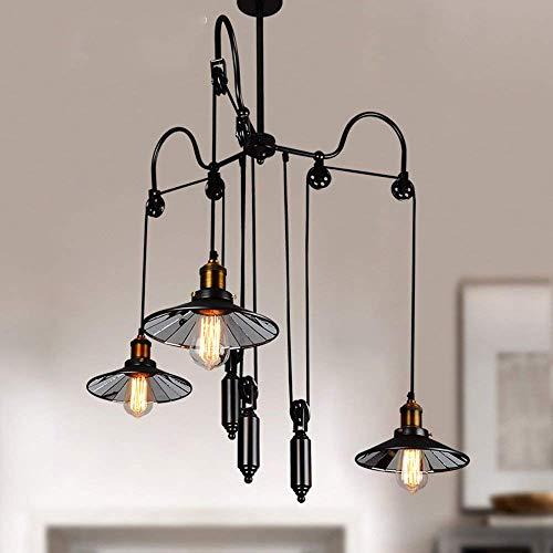 Lamp Stt - STTS Chandelier-Pendant Lights Industrial Style 3 Lamp Holder E27 Iron Art Pulley Chandelier