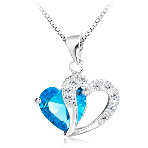 ANEWISH Woman's Blue Heart Crystal with Silver Heart Pendant Necklace, Sterling Silver Chain. Blue Jewellery Box, Beautiful Gift for Girls.