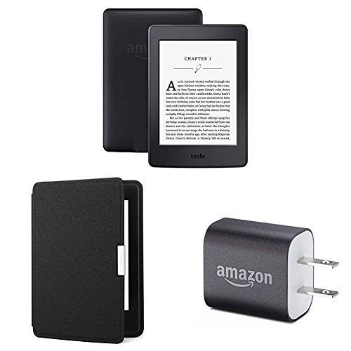"Kindle Paperwhite Essentials Bundle including Kindle Paperwhite 6"" E-Reader (Previous Generation - 7th), Black , Amazon Leather Cover - Onyx Black, and Power Adapter"