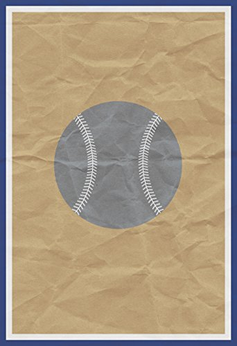 Gray Baseball Old Brown Paper Background Print Art Sports Home Decoration Inspirational (Baseball Poster Print)