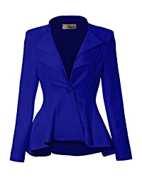 Hybrid & Company Women Double Notch Lapel Office Blazer JK43864 1073T Royal Large