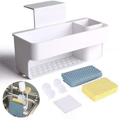 Sponge Holder for Kitchen Sink, with Holder for Sponges and Cleaning Supplies, 3-in-1 Multifunctional sponge caddy and Dish Cloth Hanger, for Kitchen, Bathroom, Soap Box Organizer with Suction Cups