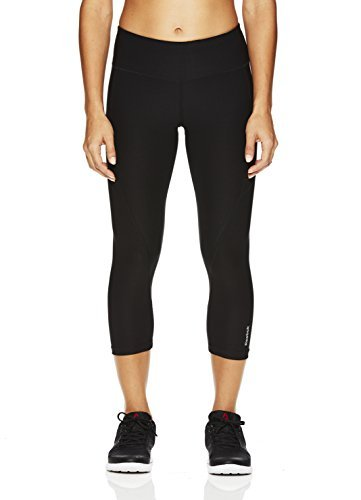 Reebok Women's Printed Capri Leggings With Mid-Rise Waist Performance Compression Tights, Quick Black, Medium (Crop Fit Relaxed)