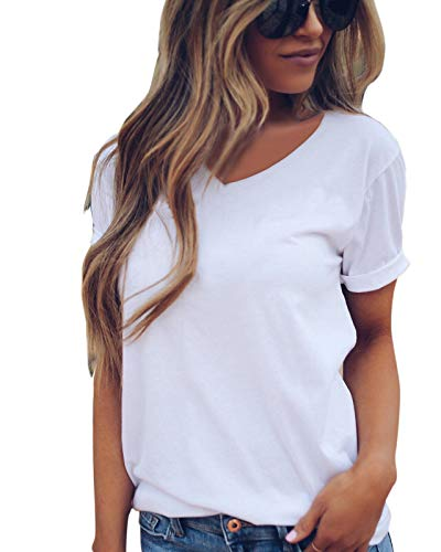 - LOVFEE Women's Basic Solid Short Sleeve Loose Casual T-Shirts(V-Neck/White/M)