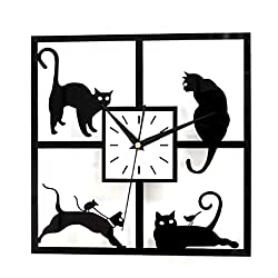 Wall Clocks - Black Cat Wall Clock Acrylic Mute Hollow Bedroom Office Study 30 30cm - Battery Unusual Personalized Yellow Oversized Numbers Hanging Adeco Controlled Sturdy