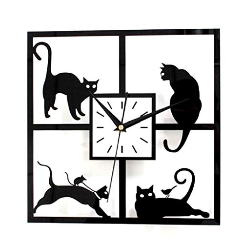 Cat Metal Clock Wall (Wall Clocks - Black Cat Wall Clock Acrylic Mute Hollow Bedroom Office Study 30 30cm - Battery Unusual Personalized Yellow Oversized Numbers Hanging Adeco Controlled Sturdy)