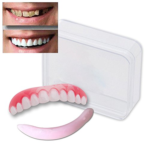 Price comparison product image EHOLIFE Cosmetic Teeth for Women Men 1 Pack.(Small, Bleached) Uppers Only Arrives Flat (M) As Seen On TV