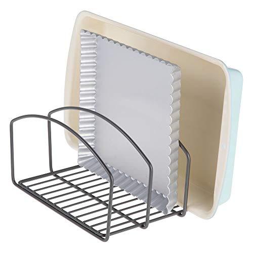 mDesign Metal Wire Cookware Organizer Rack for Kitchen Cabinet, Pantry and Shelves - Organizer Holder with Three Slots for Cookie Trays, Muffin Tins, Bread Pans, Cutting Boards - Graphite/Gray