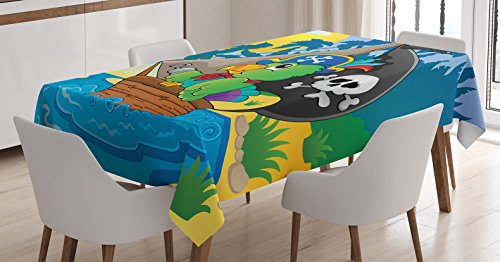 Parrots Decor Tablecloth by Ambesonne, Image with Pirate Parrot Theme Boat Danger Skull Crossbones Hat Sun Comic Cartoon, Dining Room Kitchen Rectangular Table Cover, 60 X 84 (Cartoon Pirate Hat)