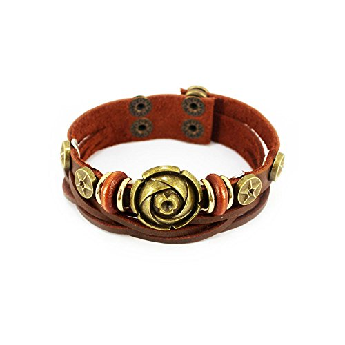 Ancient Greek Military Costume (The November Nocturne Ancient Romantic Rose Flower Alloy Beaded Double Buckle Button Adjustable Bracelet)