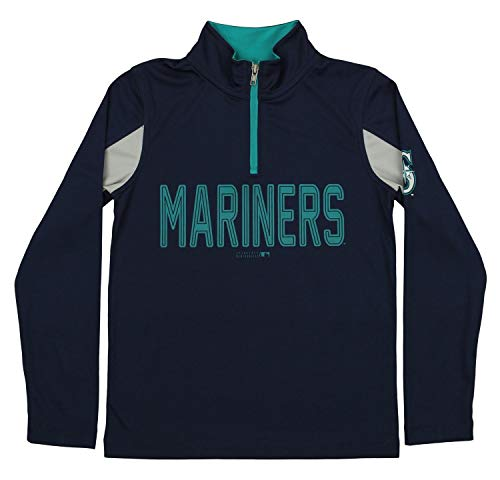 (Outerstuff MLB Youth Boys 1/4 Zip Performance Long Sleeve Top, Seattle Mariners, Large)