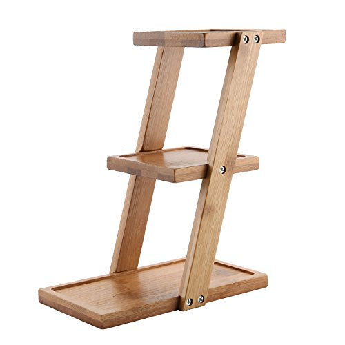 T4U 3 Tier 8'' Height Desk Planter Shelf for Plants, Small Succulent Pots Display Stand Bamboo Rack for Kitchen Bathroom Windowsill (Indoor Planters Window Ledge)
