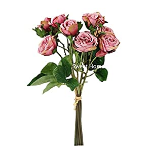 Sweet Home Deco 16'' Silk Cabbage Rose Artificial Floral Bouquet w/Long Stems for Wedding/Home/Party Decorations 75