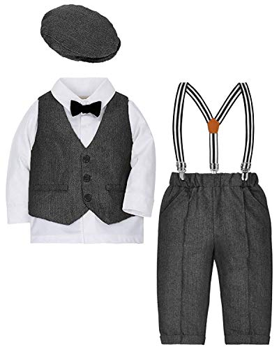 (ZOEREA Baby Boy Suit Outfits Set,3pcs Long Sleeves Gentleman Romper Jumpsuit & Vest Coat & Berets Hat with Bow Tie (Grey, Label 100/Age 18-30)