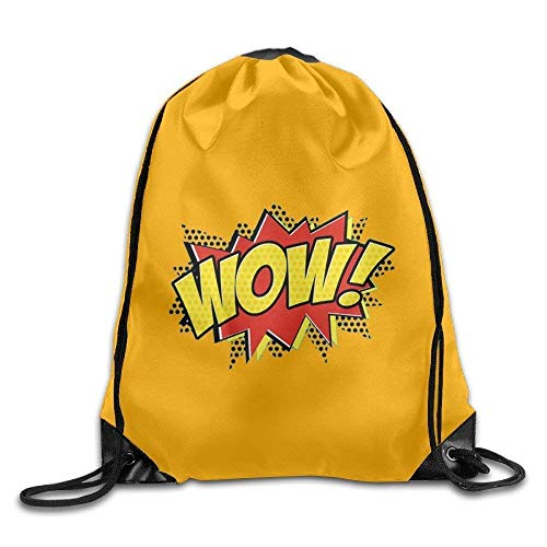jsh2546eggh WOW! Funny Word Interjection Basic Polyester Velvet Drawstring Backpack Trendy String Bags 16x14 Inch Lightweight Gym Swimming Yoga for Unisex ()