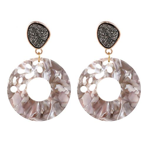 - Women's Hollow Round Acrylic Earrings, Fashion Semi Precious Stones Resin Post Dangle Hoop Earrings for Women Girls (Style A- Tortoise Shell) (Style A- White Shell)