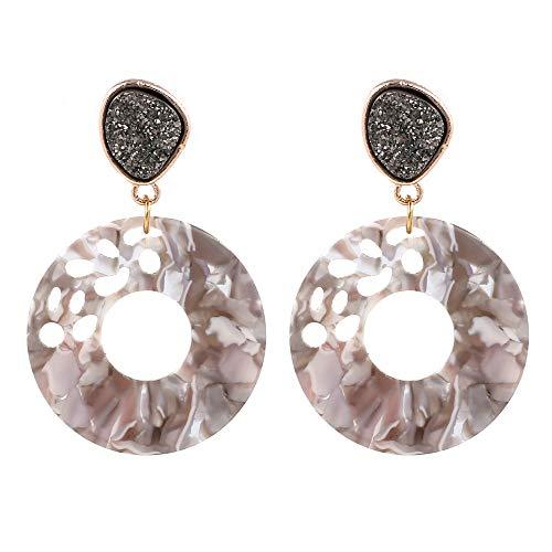 Women's Hollow Round Acrylic Earrings, Fashion Semi Precious Stones Resin Post Dangle Hoop Earrings for Women Girls (Style A- Tortoise Shell) (Style A- White Shell)