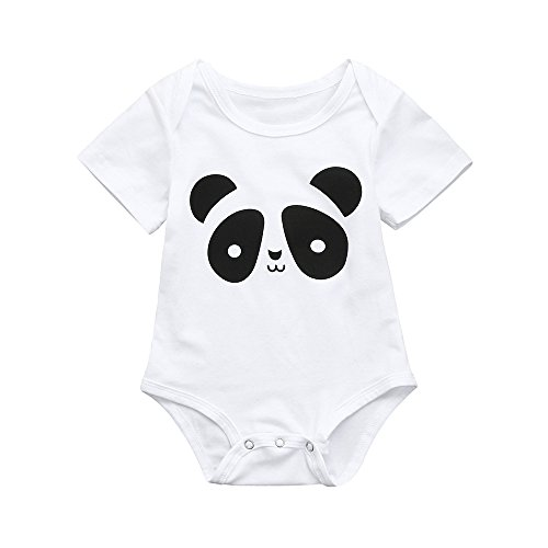 0-24M Baby Boys Cartoon Bear Romper Girl Summer Panda Jumpsuit White Pajama Yamally (0-6 Months, White) ()