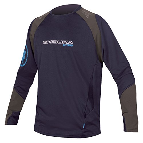 Endura MT500 Burner Long Sleeve Cycling Jersey (Large, Navy)