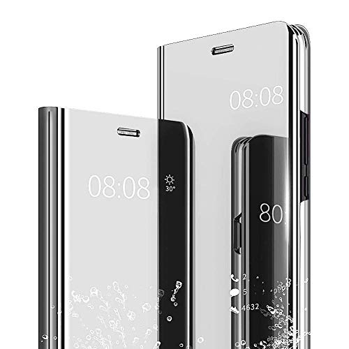 (Galaxy S10 Plus Case, KMISS Luxury Clear View Flip Mirror Makeup Glitter Slim Wallet Multi-Function Case Standing Full Body Protection Shockproof Cover for Samsung Galaxy S10 Plus (Silver))