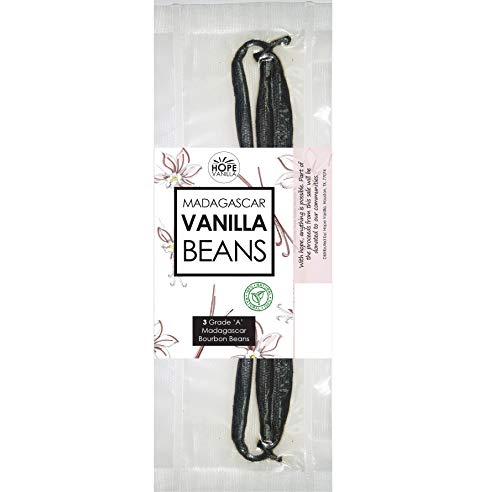 - Hope Vanilla - 3 Real Madagascar Bourbon Vanilla Beans - Premium Quality, Exquisite Taste, Amazing Aroma - VACUUM PACKED - Superior to Tahitian or PNG beans
