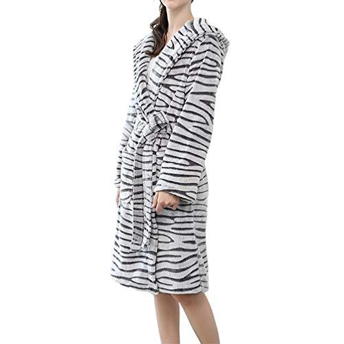 TOPBATHY Long Sleeves Bathrobe Autumn Winter Thickened Bathrobe for Women Ladies (Zebra-Strip, Size L) (Zebra Bathrobes For Women)