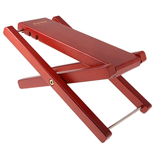Jili Online Folding Foot Stool Rest for Acoustic Electric Classical Guitars Burgundy by Jili Online